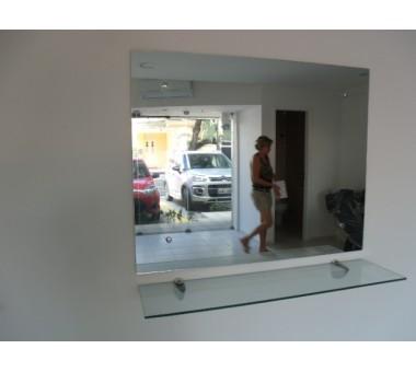Espelho + Prateleira Com Tucano Para Salão De Beleza
